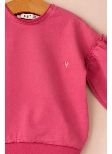 Cigit Kalp Nakışlı Balon Kol Sweatshirt Renkli